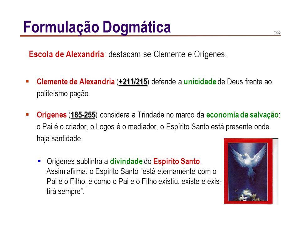 7/92 +211/215  Clemente de Alexandria ( +211/215 ) defende a unicidade de Deus frente ao politeísmo pagão. 185-255  Orígenes ( 185-255 ) considera a