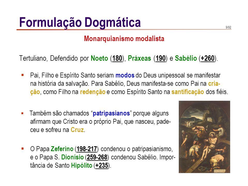 9/92 Formulação Dogmática 180190+260 Tertuliano, Defendido por Noeto ( 180 ), Práxeas ( 190 ) e Sabélio ( +260 ).  Pai, Filho e Espírito Santo seriam
