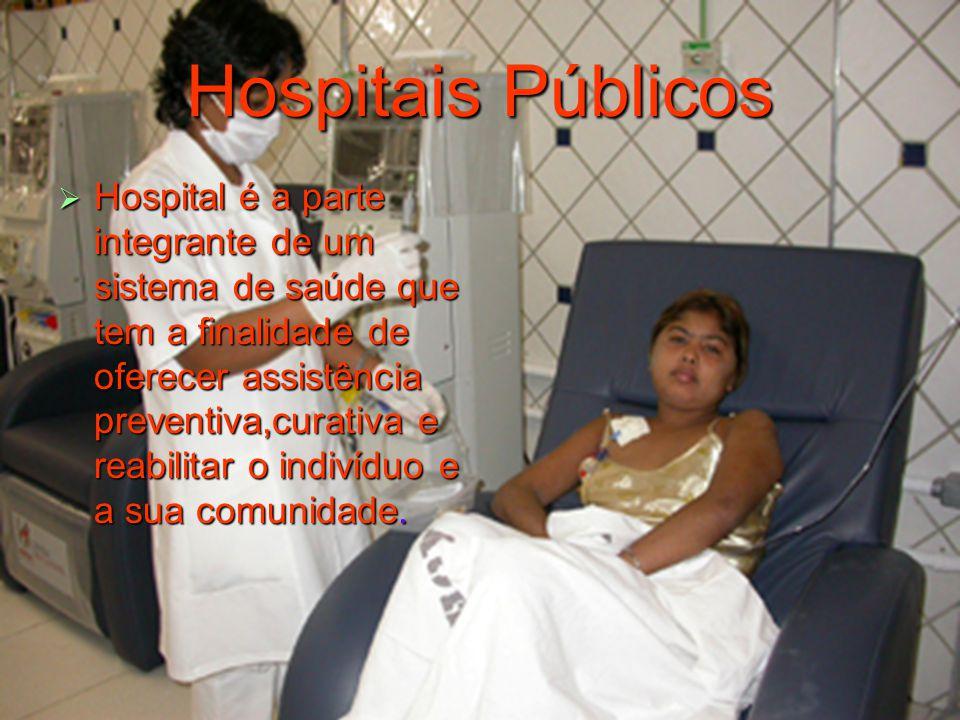 Hospitais Públicos  Hospital é a parte integrante de um sistema de saúde que tem a finalidade de oferecer assistência preventiva,curativa e reabilitar o indivíduo e a sua comunidade.