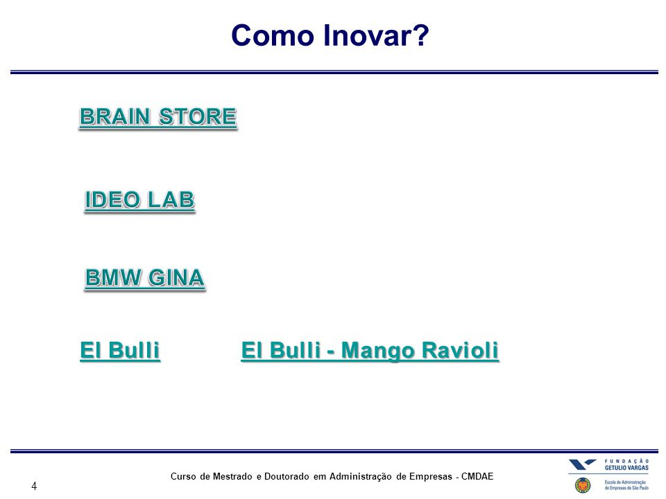 4 Curso de Mestrado e Doutorado em Administração de Empresas - CMDAE Como Inovar?