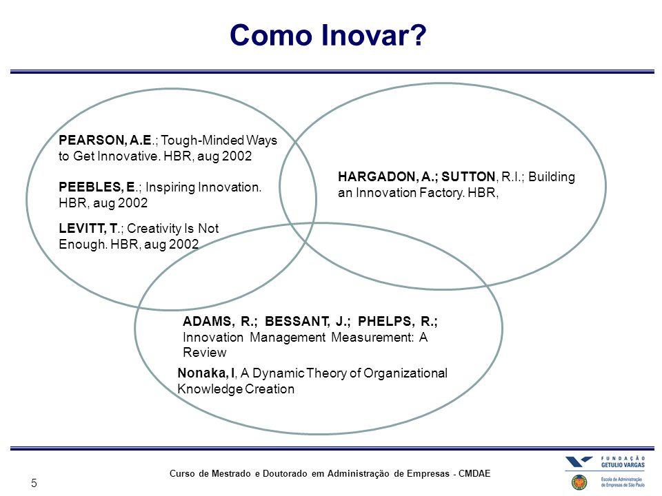 5 Curso de Mestrado e Doutorado em Administração de Empresas - CMDAE Como Inovar? PEARSON, A.E.; Tough-Minded Ways to Get Innovative. HBR, aug 2002 PE