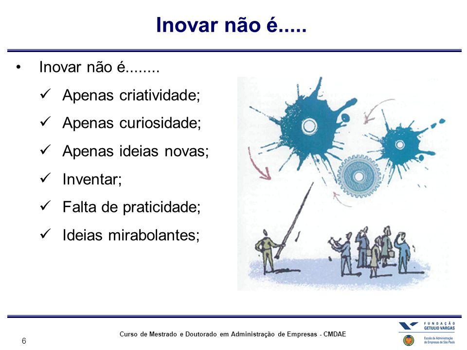 6 Curso de Mestrado e Doutorado em Administração de Empresas - CMDAE •Inovar não é........  Apenas criatividade;  Apenas curiosidade;  Apenas ideia