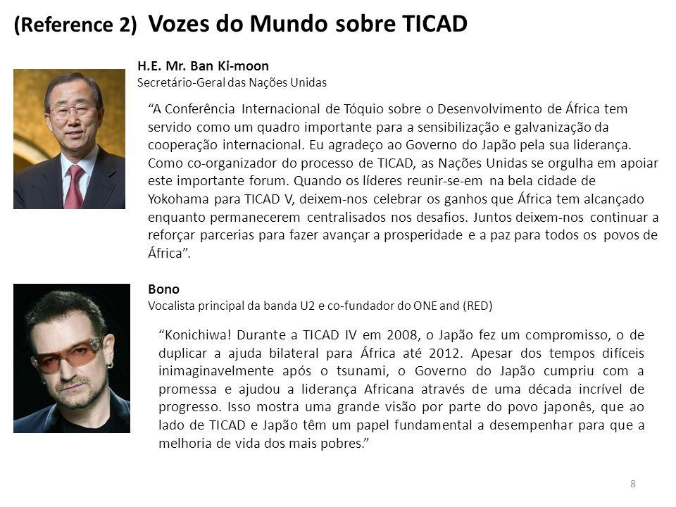 """8 (Reference 2) Vozes do Mundo sobre TICAD H.E. Mr. Ban Ki-moon Secretário-Geral das Nações Unidas """"A Conferência Internacional de Tóquio sobre o Dese"""