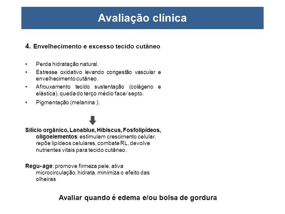 Avaliação clínica 4. Envelhecimento e excesso tecido cutâneo •Perda hidratação natural. •Estresse oxidativo levando congestão vascular e envelheciment