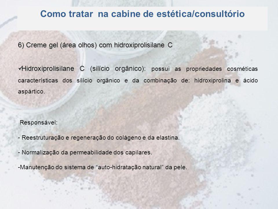 6) Creme gel (área olhos) com hidroxiprolisilane C  Hidroxiprolisilane C  Hidroxiprolisilane C (silício orgânico): possui as propriedades cosméticas características dos silício orgânico e da combinação de: hidroxiprolina e ácido aspártico.