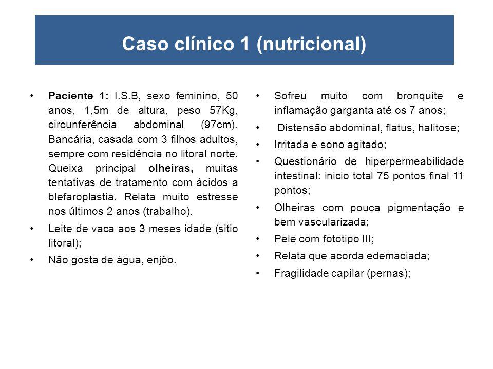 Caso clínico 1 (nutricional) •Paciente 1: I.S.B, sexo feminino, 50 anos, 1,5m de altura, peso 57Kg, circunferência abdominal (97cm). Bancária, casada