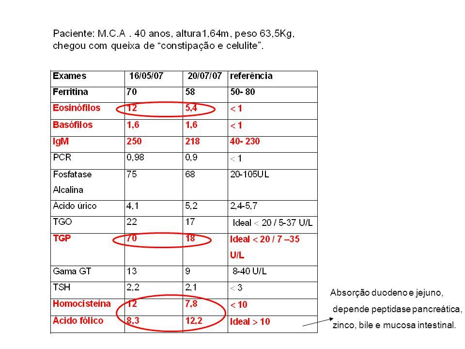 Absorção duodeno e jejuno, depende peptidase pancreática, zinco, bile e mucosa intestinal.