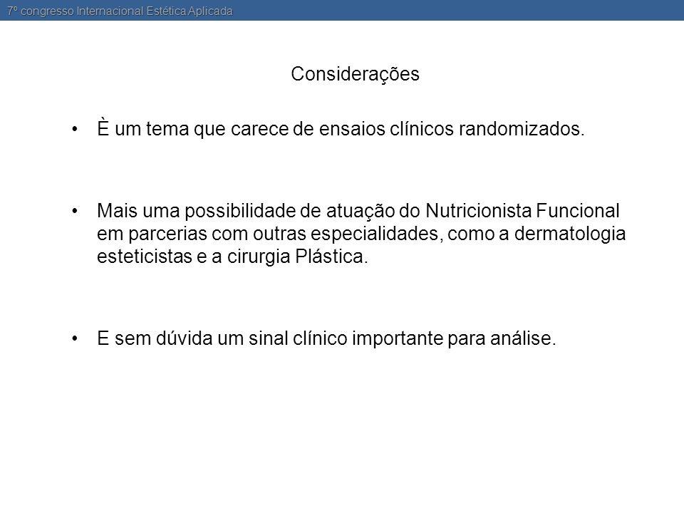 Considerações •È um tema que carece de ensaios clínicos randomizados.