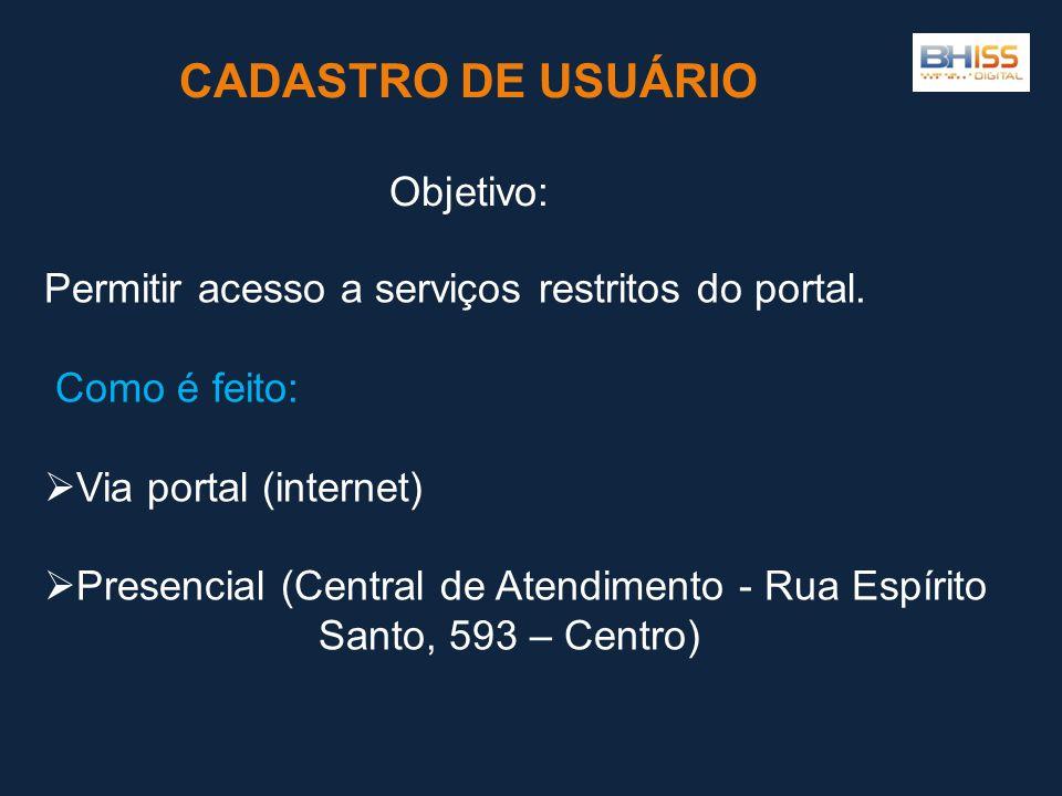 Permitir acesso a serviços restritos do portal.