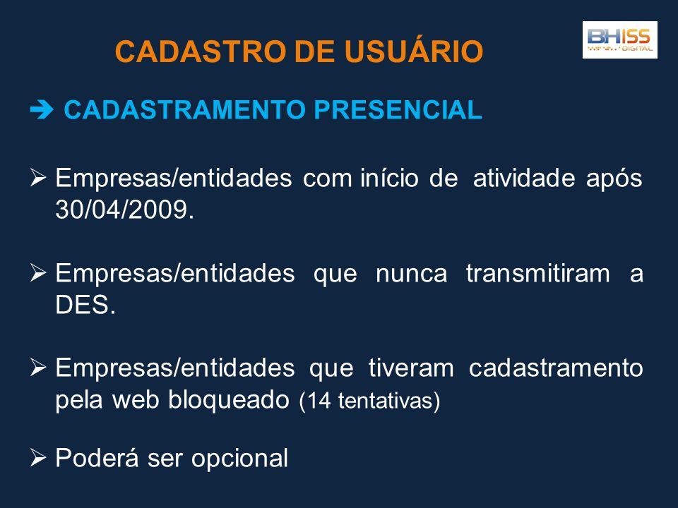  CADASTRAMENTO PRESENCIAL  Empresas/entidades com início de atividade após 30/04/2009.