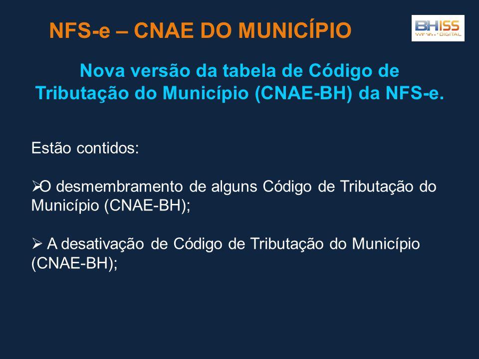 Estão contidos:  O desmembramento de alguns Código de Tributação do Município (CNAE-BH);  A desativação de Código de Tributação do Município (CNAE-BH); NFS-e – CNAE DO MUNICÍPIO Nova versão da tabela de Código de Tributação do Município (CNAE-BH) da NFS-e.