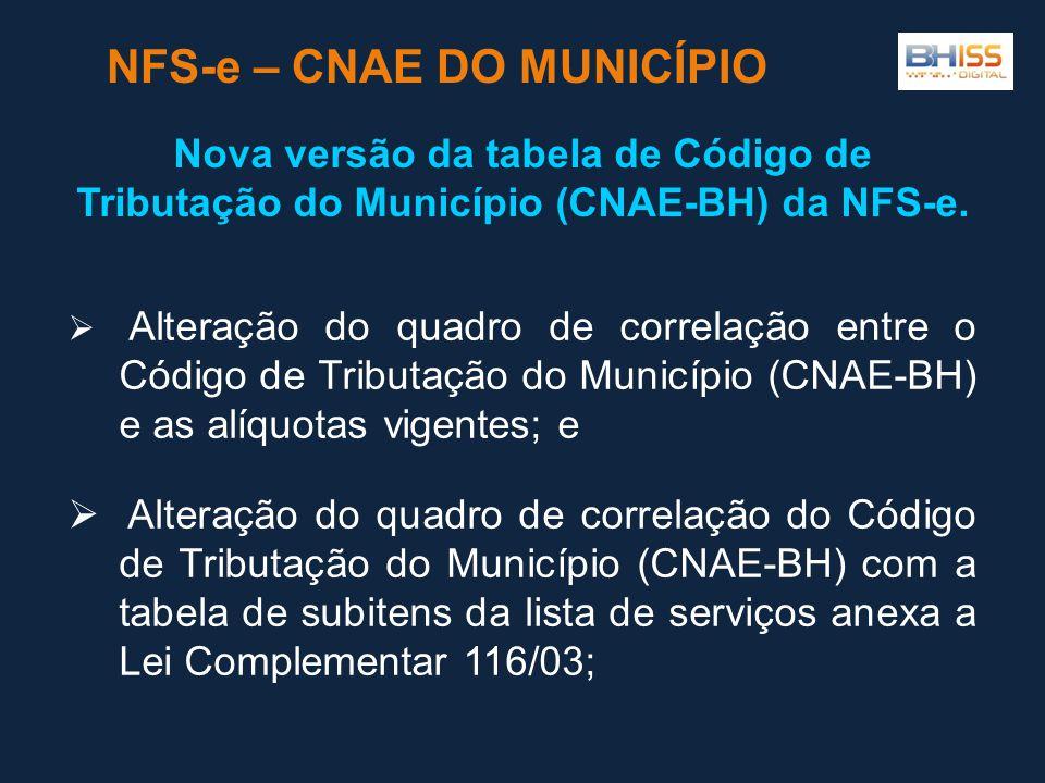  Alteração do quadro de correlação entre o Código de Tributação do Município (CNAE-BH) e as alíquotas vigentes; e  Alteração do quadro de correlação do Código de Tributação do Município (CNAE-BH) com a tabela de subitens da lista de serviços anexa a Lei Complementar 116/03; NFS-e – CNAE DO MUNICÍPIO