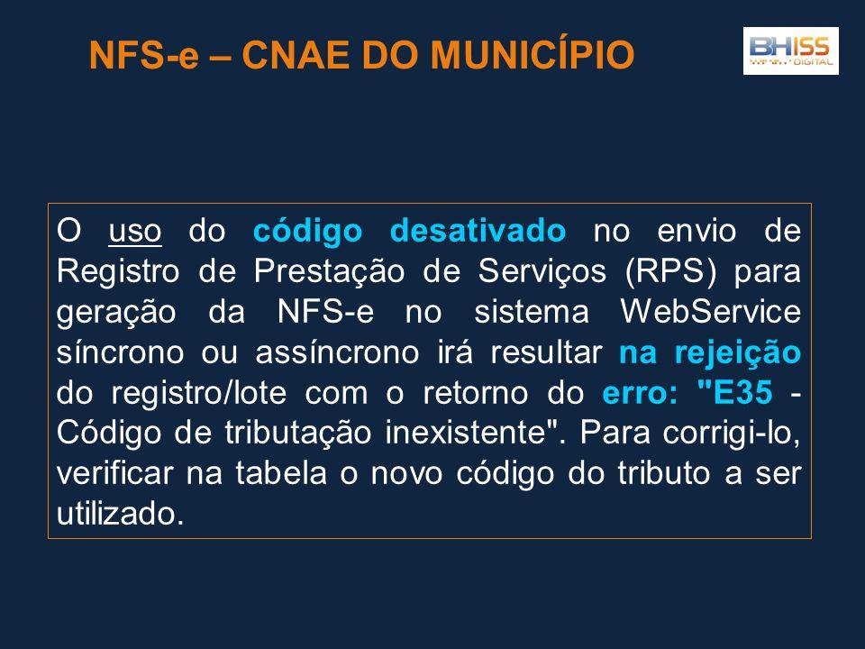 O uso do código desativado no envio de Registro de Prestação de Serviços (RPS) para geração da NFS-e no sistema WebService síncrono ou assíncrono irá resultar na rejeição do registro/lote com o retorno do erro: E35 - Código de tributação inexistente .