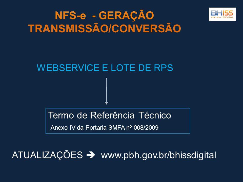 NFS-e - GERAÇÃO TRANSMISSÃO/CONVERSÃO Termo de Referência Técnico Anexo IV da Portaria SMFA nº 008/2009 WEBSERVICE E LOTE DE RPS ATUALIZAÇÕES  www.pbh.gov.br/bhissdigital