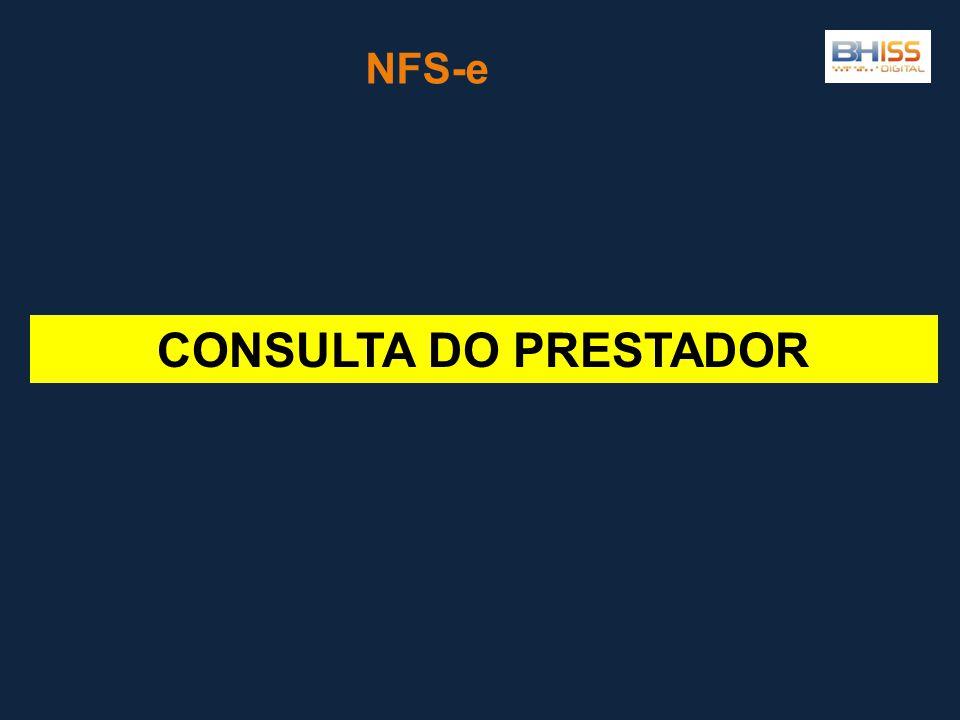 CONSULTA DO PRESTADOR NFS-e