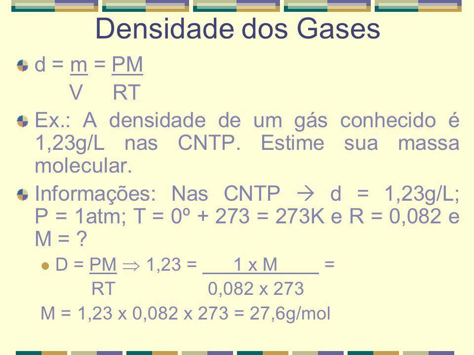 d = m = PM V RT Ex.: A densidade de um gás conhecido é 1,23g/L nas CNTP. Estime sua massa molecular. Informações: Nas CNTP  d = 1,23g/L; P = 1atm; T