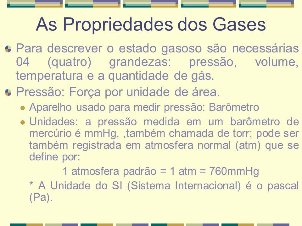 As Propriedades dos Gases Para descrever o estado gasoso são necessárias 04 (quatro) grandezas: pressão, volume, temperatura e a quantidade de gás. Pr