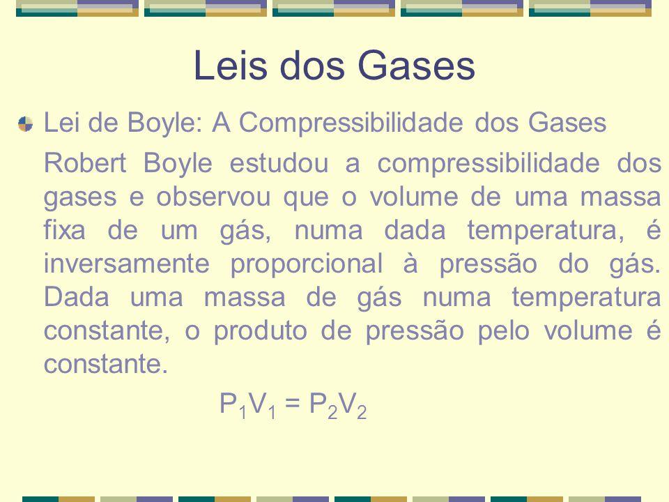 Leis dos Gases Lei de Boyle: A Compressibilidade dos Gases Robert Boyle estudou a compressibilidade dos gases e observou que o volume de uma massa fix