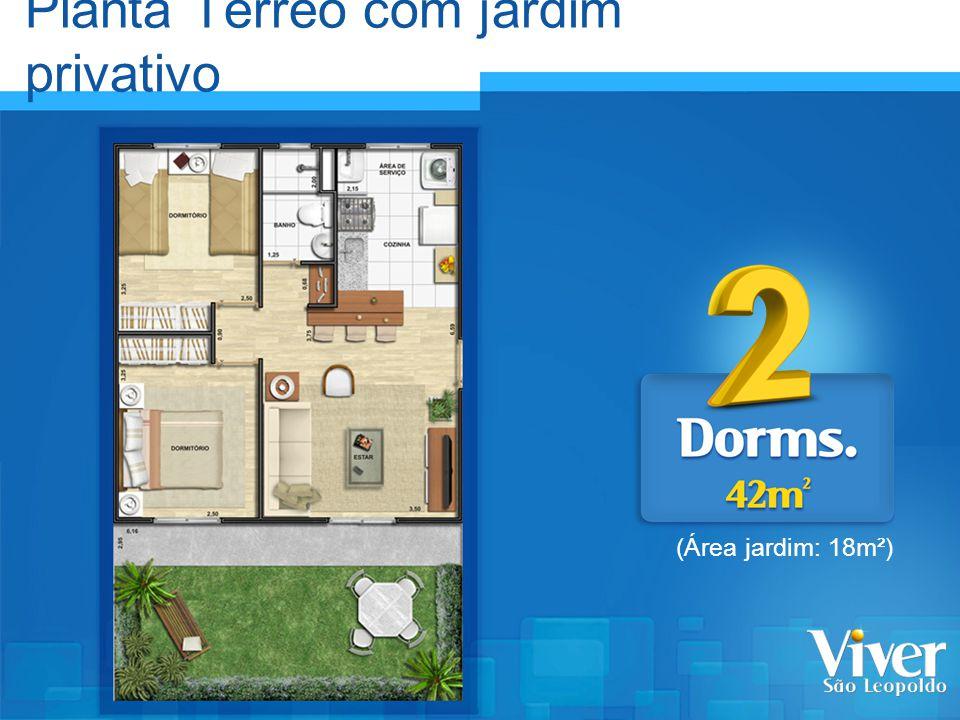 Planta Térreo com jardim privativo (Área jardim: 18m²)