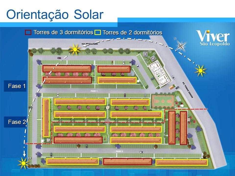 Orientação Solar Fase 1 Fase 2 Torres de 3 dormitórios Torres de 2 dormitórios