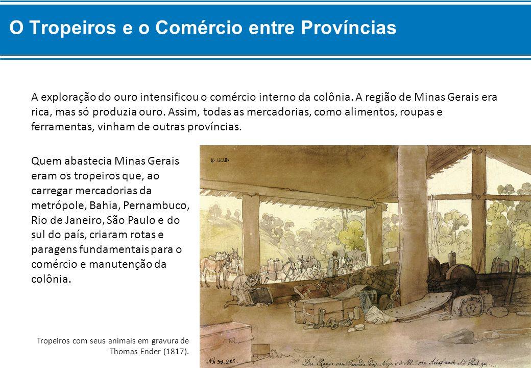 Quem abastecia Minas Gerais eram os tropeiros que, ao carregar mercadorias da metrópole, Bahia, Pernambuco, Rio de Janeiro, São Paulo e do sul do país