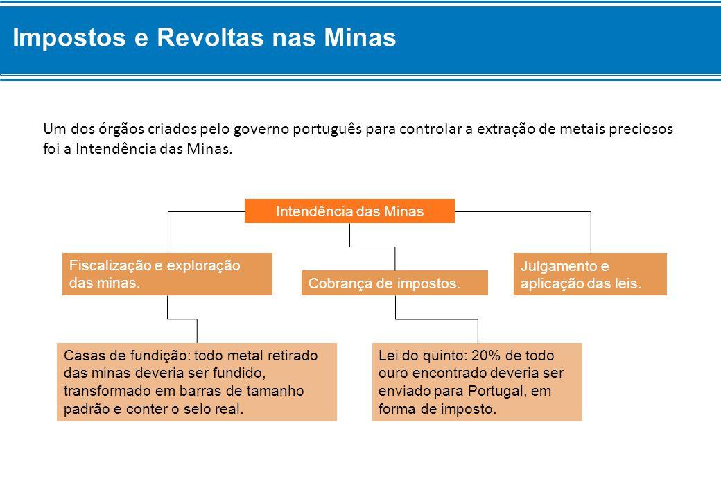 Lei do quinto: 20% de todo ouro encontrado deveria ser enviado para Portugal, em forma de imposto. Casas de fundição: todo metal retirado das minas de