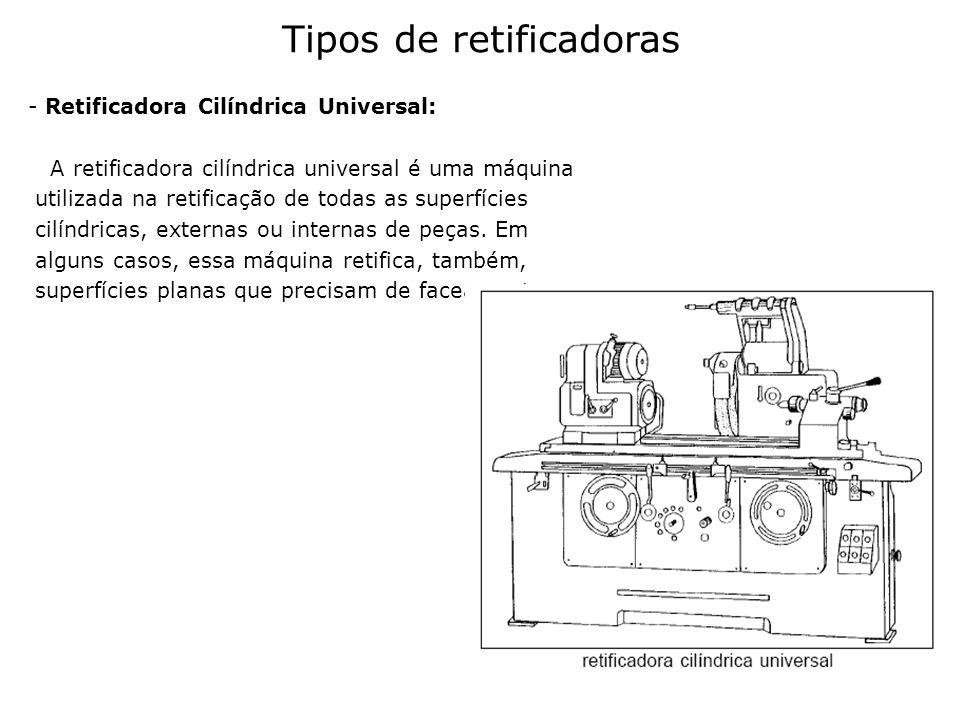 - Retificadora Cilíndrica Universal: A retificadora cilíndrica universal é uma máquina utilizada na retificação de todas as superfícies cilíndricas, e