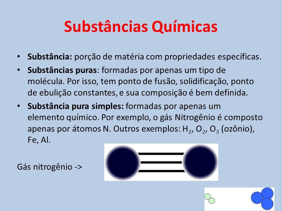 Substâncias Químicas • Substância: porção de matéria com propriedades específicas. • Substâncias puras: formadas por apenas um tipo de molécula. Por i