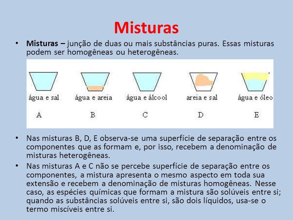 Misturas • Misturas – junção de duas ou mais substâncias puras. Essas misturas podem ser homogêneas ou heterogêneas. • Nas misturas B, D, E observa-se