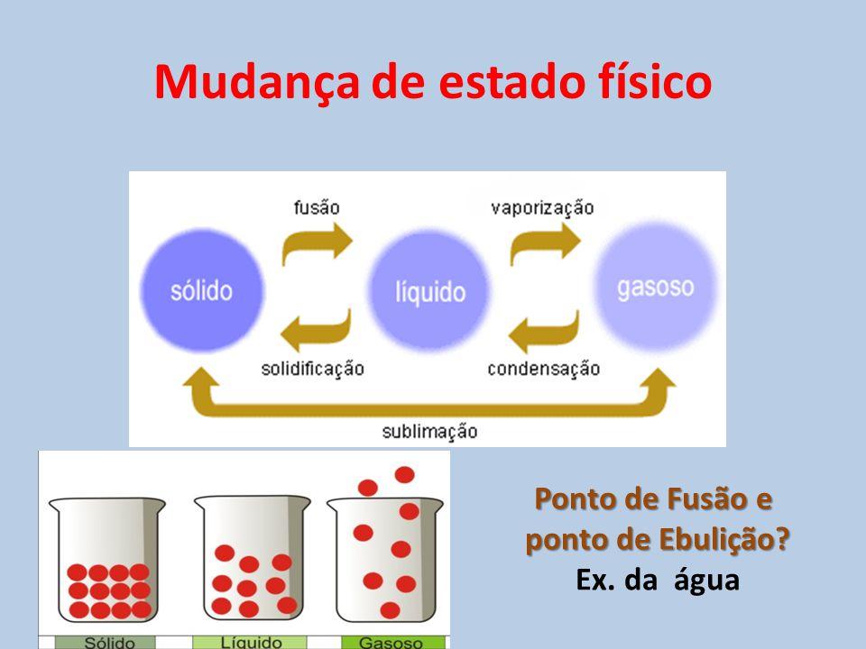 Mudança de estado físico Ponto de Fusão e ponto de Ebulição? Ex. da água