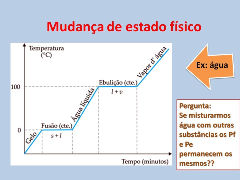 Ex: água Pergunta: Se misturarmos água com outras substâncias os Pf e Pe permanecem os mesmos?? Mudança de estado físico