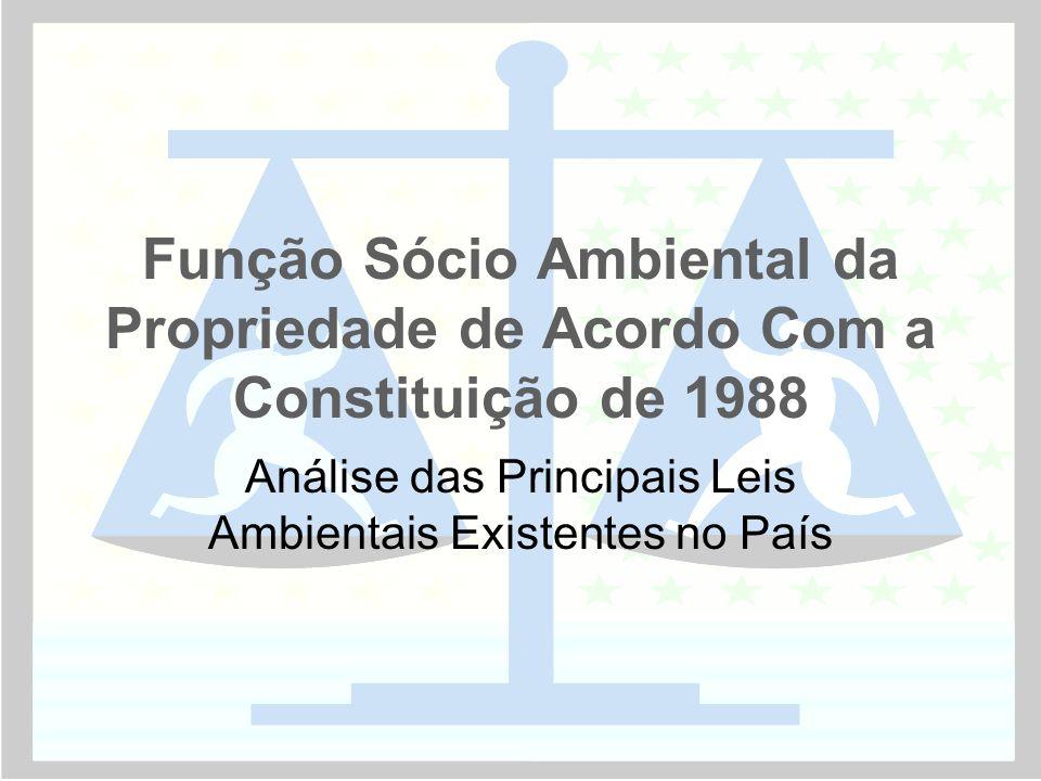 Função Sócio Ambiental da Propriedade de Acordo Com a Constituição de 1988 Análise das Principais Leis Ambientais Existentes no País