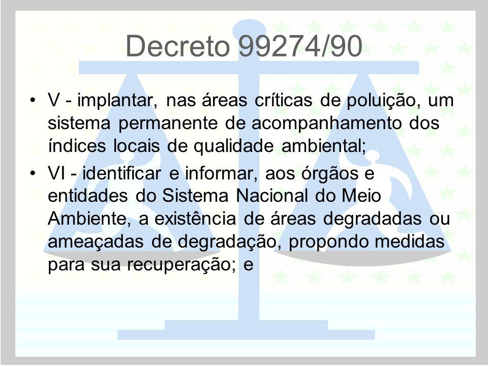 Decreto 99274/90 •V - implantar, nas áreas críticas de poluição, um sistema permanente de acompanhamento dos índices locais de qualidade ambiental; •V
