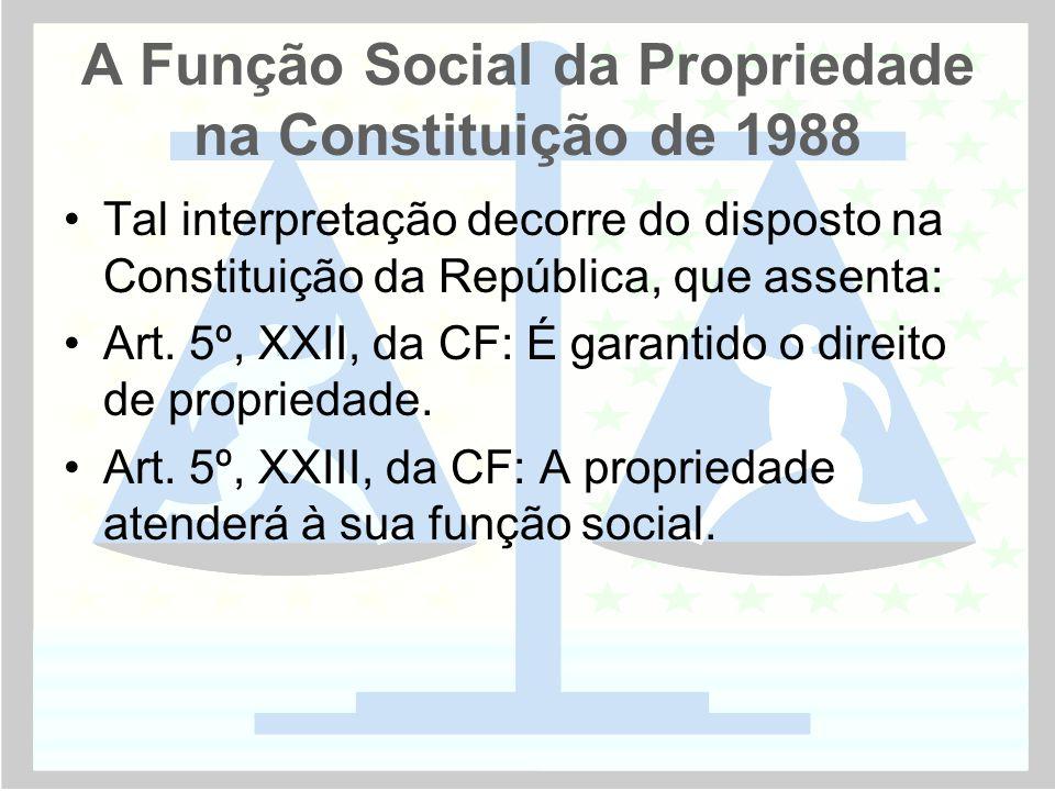 A Função Social da Propriedade na Constituição de 1988 •Tal interpretação decorre do disposto na Constituição da República, que assenta: •Art. 5º, XXI