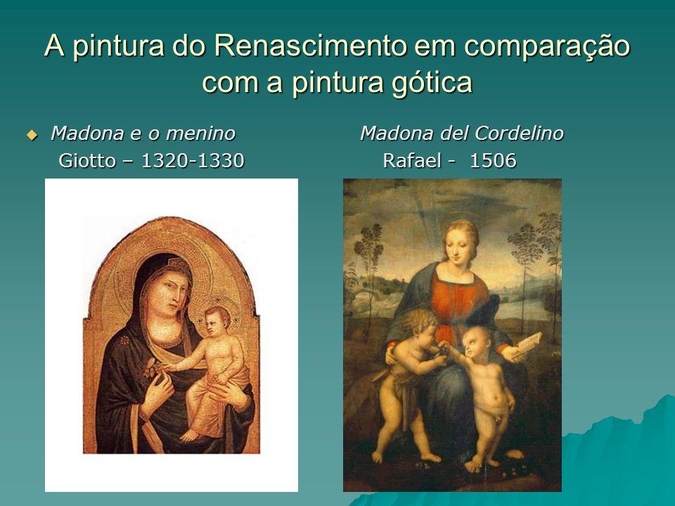 A pintura do Renascimento em comparação com a pintura gótica  Madona e o menino Madona del Cordelino Giotto – 1320-1330 Rafael - 1506 Giotto – 1320-1