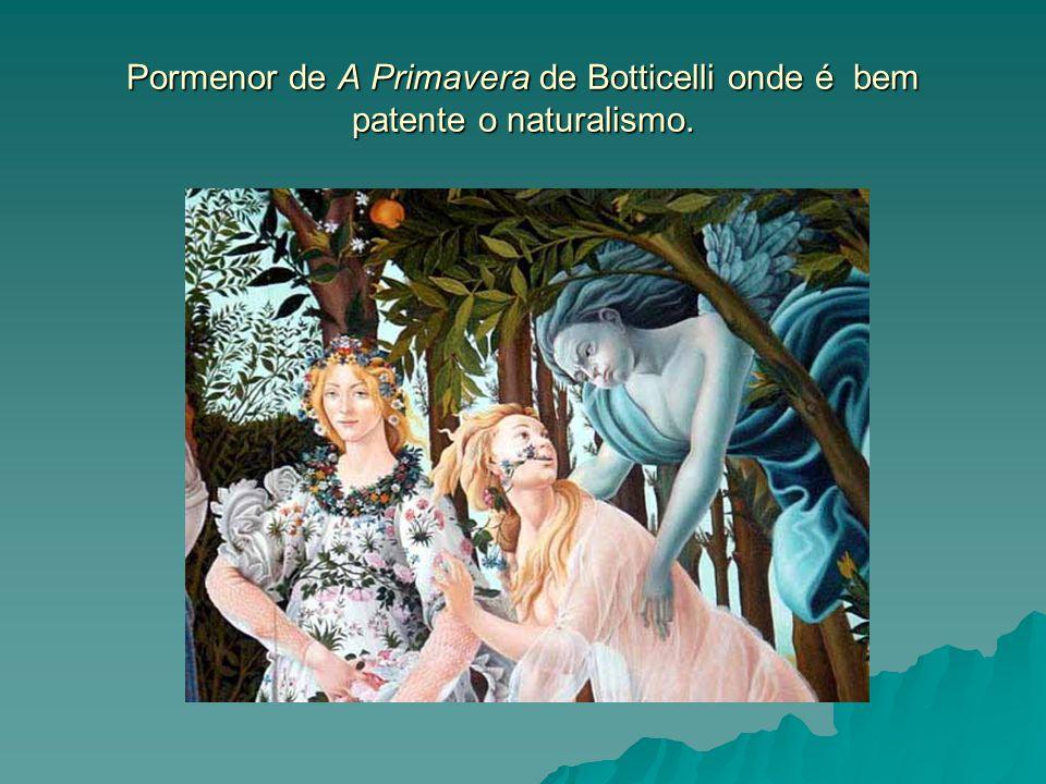 Pormenor de A Primavera de Botticelli onde é bem patente o naturalismo.