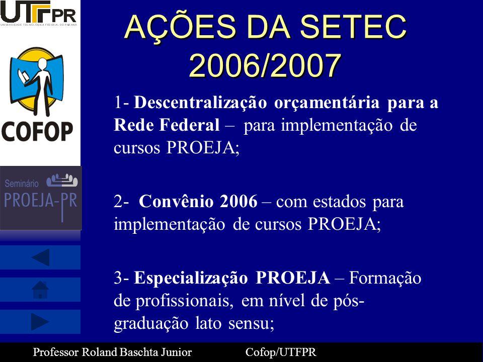 Professor Roland Baschta Junior Cofop/UTFPR AÇÕES DA SETEC 2006/2007 1- Descentralização orçamentária para a Rede Federal – para implementação de curs