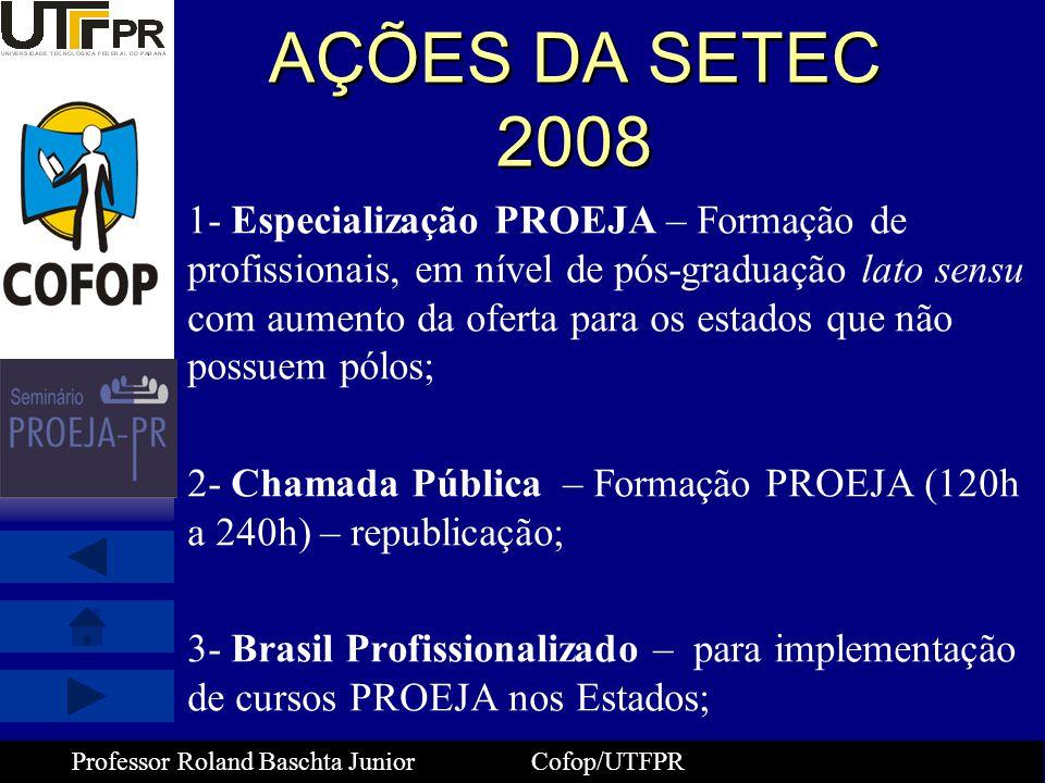 Professor Roland Baschta Junior Cofop/UTFPR AÇÕES DA SETEC 2008 1- Especialização PROEJA – Formação de profissionais, em nível de pós-graduação lato s