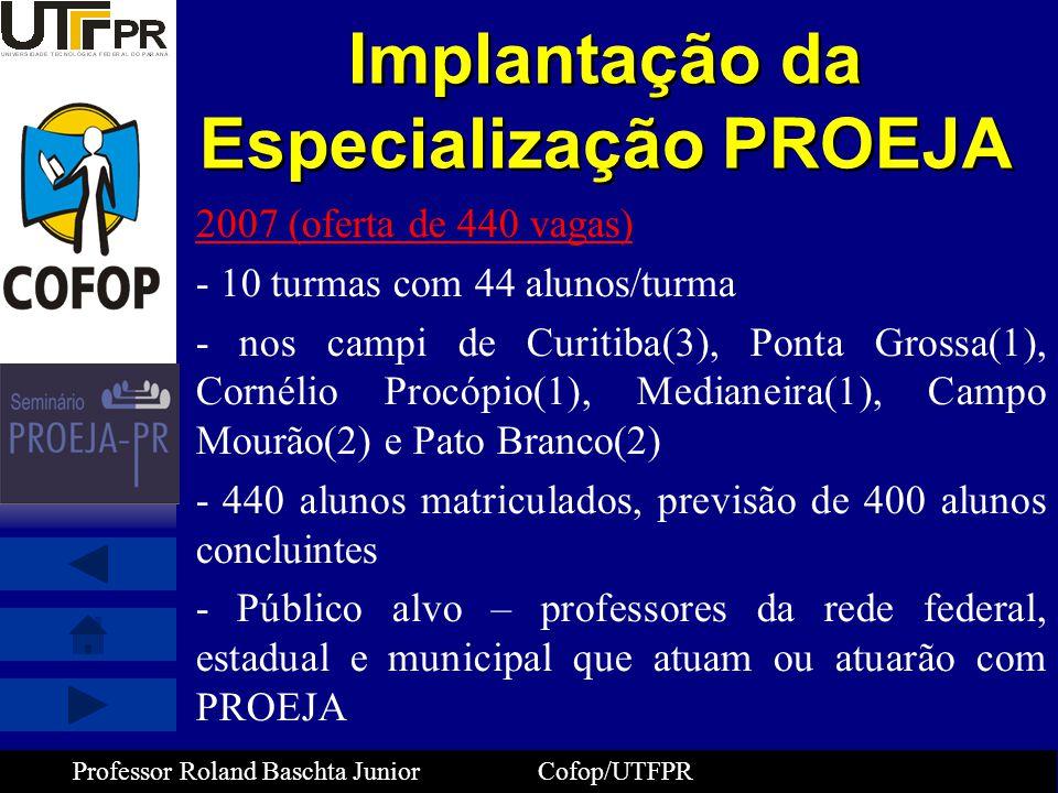 Professor Roland Baschta Junior Cofop/UTFPR Implantação da Especialização PROEJA 2007 (oferta de 440 vagas) - 10 turmas com 44 alunos/turma - nos camp