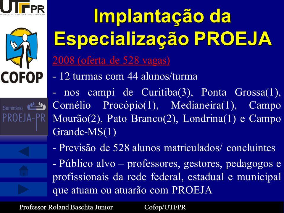 Professor Roland Baschta Junior Cofop/UTFPR Implantação da Especialização PROEJA 2008 (oferta de 528 vagas) - 12 turmas com 44 alunos/turma - nos camp