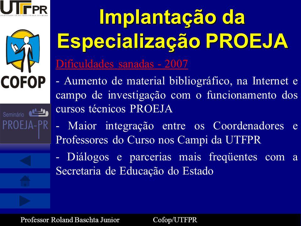 Professor Roland Baschta Junior Cofop/UTFPR Implantação da Especialização PROEJA Dificuldades sanadas - 2007 - Aumento de material bibliográfico, na I