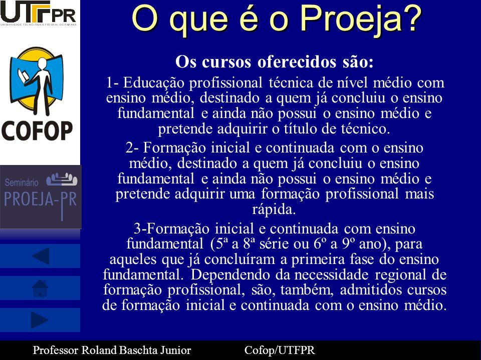 Professor Roland Baschta Junior Cofop/UTFPR Implantação da Especialização PROEJA 2008 (oferta de 528 vagas) - 12 turmas com 44 alunos/turma - nos campi de Curitiba(3), Ponta Grossa(1), Cornélio Procópio(1), Medianeira(1), Campo Mourão(2), Pato Branco(2), Londrina(1) e Campo Grande-MS(1) - Previsão de 528 alunos matriculados/ concluintes - Público alvo – professores, gestores, pedagogos e profissionais da rede federal, estadual e municipal que atuam ou atuarão com PROEJA
