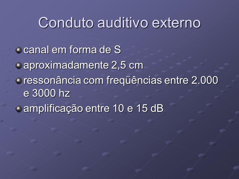 Conduto auditivo externo canal em forma de S aproximadamente 2,5 cm ressonância com freqüências entre 2.000 e 3000 hz amplificação entre 10 e 15 dB