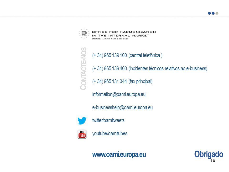 Obrigado (+ 34) 965 139 100 (central telefónica ) (+ 34) 965 139 400 (incidentes técnicos relativos ao e-business) (+ 34) 965 131 344 (fax principal) information@oami.europa.eu e-businesshelp@oami.europa.eu twitter/oamitweets youtube/oamitubes www.oami.europa.eu C ONTACTE - NOS 16