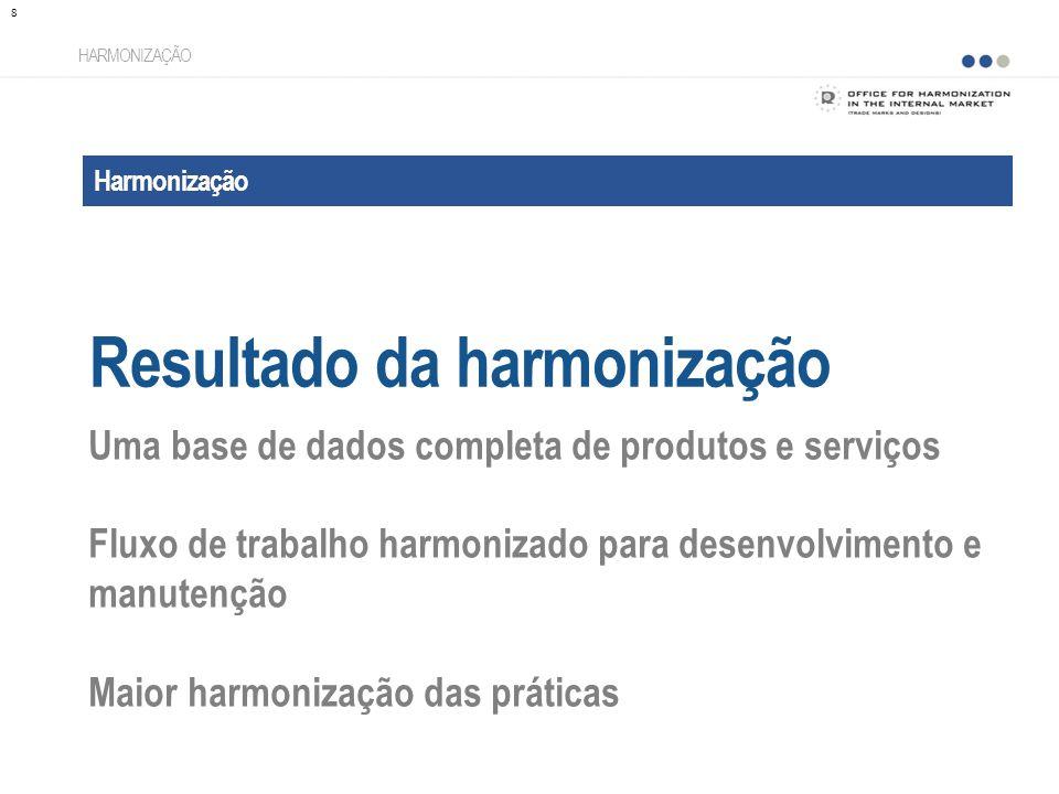 Harmonização Resultado da harmonização HARMONIZAÇÃO Uma base de dados completa de produtos e serviços Fluxo de trabalho harmonizado para desenvolvimento e manutenção Maior harmonização das práticas 8