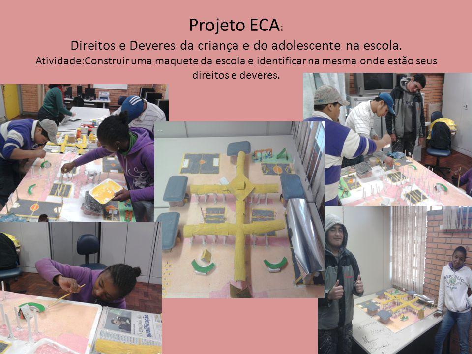 Projeto ECA : Direitos e Deveres da criança e do adolescente na escola. Atividade:Construir uma maquete da escola e identificar na mesma onde estão se