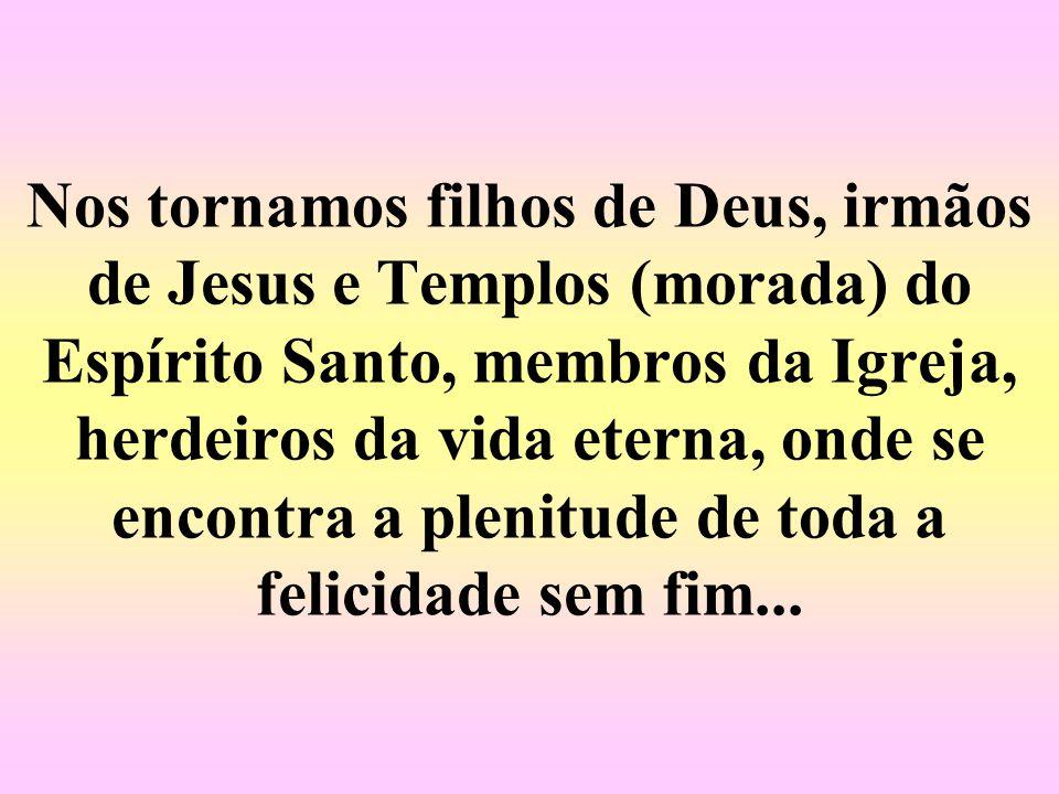 o qual nos coloca na caminhada da Igreja, pois é a entrada para a comunidade de Jesus, daí se sentir membro dessa família que é o povo de Deus, amados