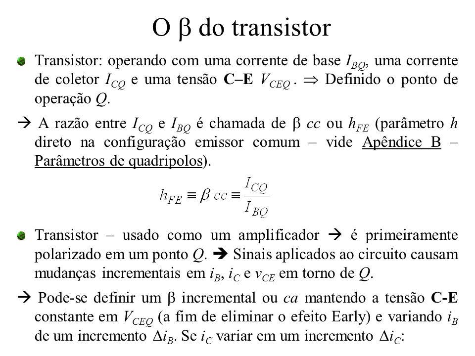 O  do transistor Transistor: operando com uma corrente de base I BQ, uma corrente de coletor I CQ e uma tensão C–E V CEQ.  Definido o ponto de opera