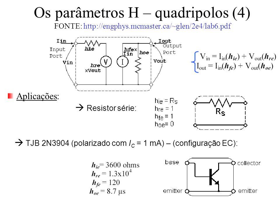 Os parâmetros H – quadripolos (4) FONTE: http://engphys.mcmaster.ca/~glen/2e4/lab6.pdf Aplicações:  Resistor série:  TJB 2N3904 (polarizado com I C