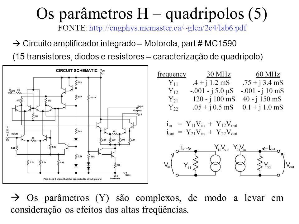 Os parâmetros H – quadripolos (5) FONTE: http://engphys.mcmaster.ca/~glen/2e4/lab6.pdf  Os parâmetros (Y) são complexos, de modo a levar em considera